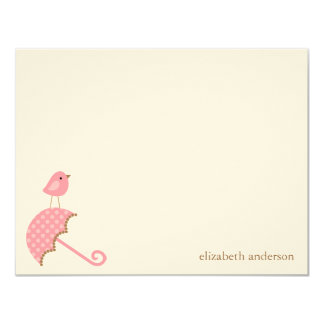 Bird and Umbrella Baby Shower Flat Thank You Cards 11 Cm X 14 Cm Invitation Card