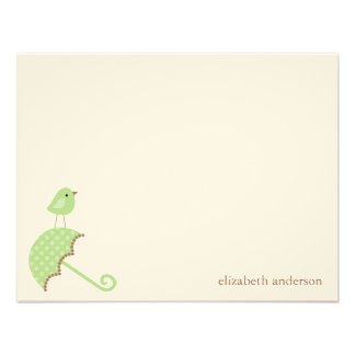 Bird and Umbrella Baby Shower Flat Thank You Cards Personalized Invites