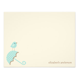 Bird and Umbrella Baby Shower Flat Thank You Cards Custom Invite