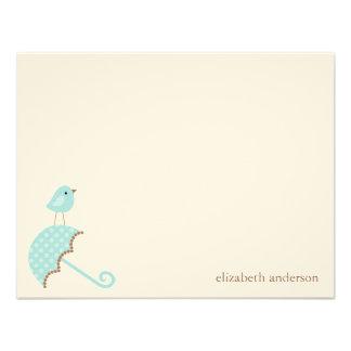 Bird and Umbrella Baby Shower Flat Thank You Cards Custom Invite