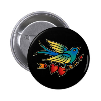 Bird Arrow and Hearts 6 Cm Round Badge