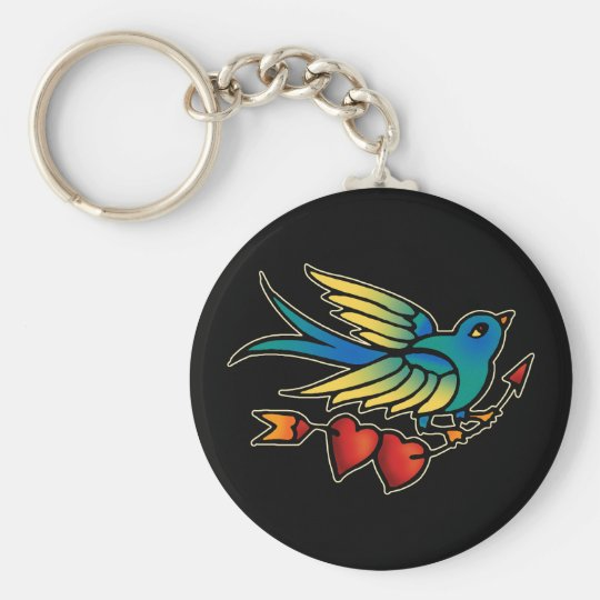 Bird Arrow and Hearts Basic Round Button Key