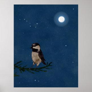 Bird Art, Chickadee, Moon, Stars, Big Dipper,Night Poster