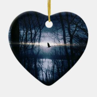 Bird at moonlight ceramic heart decoration