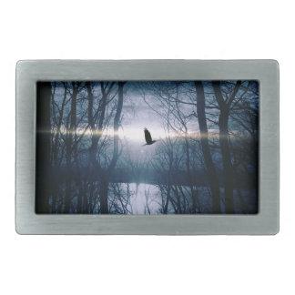 Bird at moonlight rectangular belt buckle
