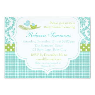 Bird Baby Shower Invitation Boy Damask Blue Green