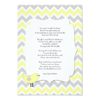 Bird Baby shower thank you notes poem yellow 13 Cm X 18 Cm Invitation Card