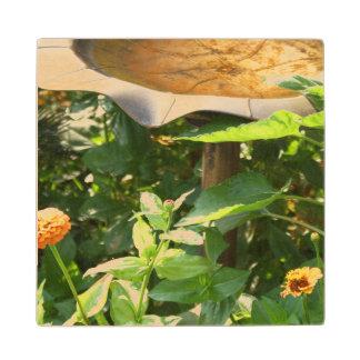 Bird bath and flowers wooden coaster. maple wood coaster