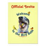 Bird Bath Dog 13 Cm X 18 Cm Invitation Card