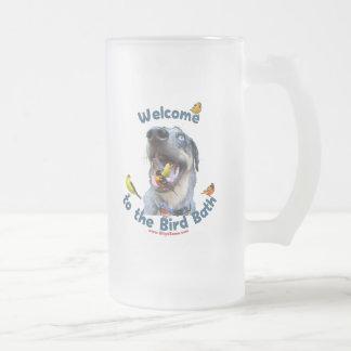 Bird Bath Dog Frosted Glass Mug