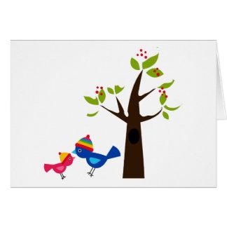 Bird Birds Mom Kid Family Tree Cute Cartoon Animal Greeting Card