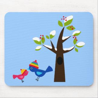 Bird Birds Mom Kid Family Tree Cute Cartoon Animal Mouse Pad