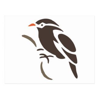 Bird Birds Perch Tree  Black Art Cartoon Animal Postcard