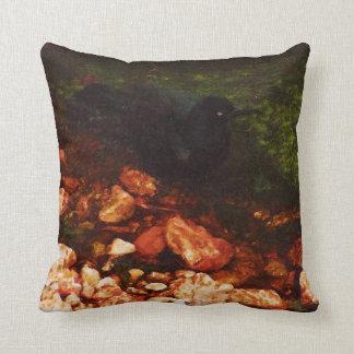 """Bird Black Bathing"" - Pillow Throw Cushions"
