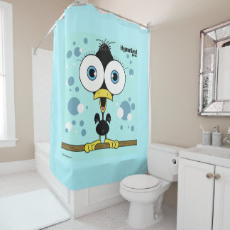 Bird (Black, Light Blue Bg) Shower Curtain