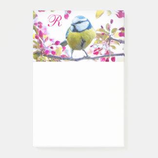 Bird & Blooms Monogram Post-it Notes