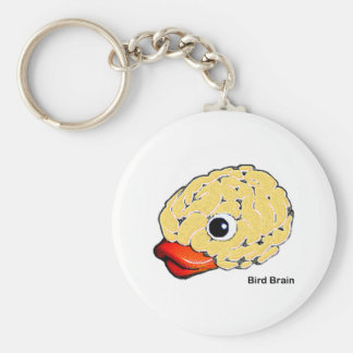 Bird Brain Basic Round Button Key Ring