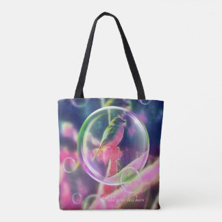 Bird bubbles tote bag add text you like