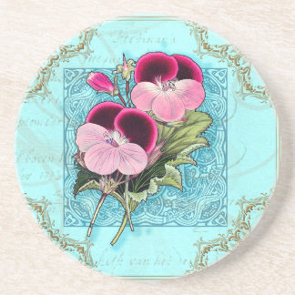 Bird, Butterfly and Flowers Vintage Collage Coaste Drink Coasters