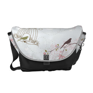 bird cage and cherry blossom bag commuter bag