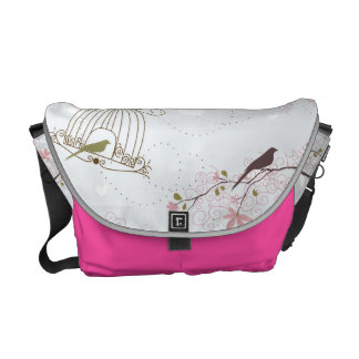 bird cage and cherry blossom bag pink courier bags