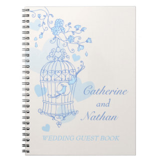 Bird cage blue wedding guest book