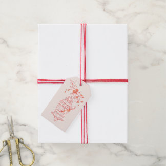 Bird cage coral orange pink wedding favor gift tag