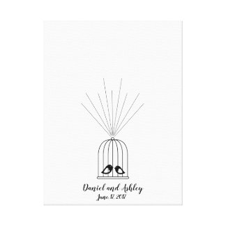 Bird Cage Fingerprint Wedding Guest Book