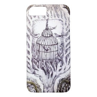 bird cage phone sketch art tree roots iPhone 7 case