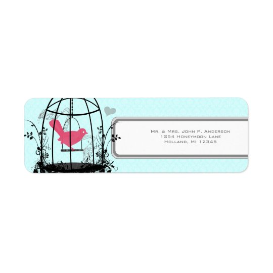 Bird Cage Pink Bird Musical Notes and Heart