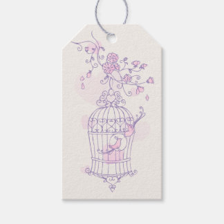 Bird cage purple pink wedding favor gift tag