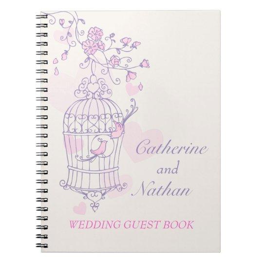 Bird cage purple / pink wedding guest book
