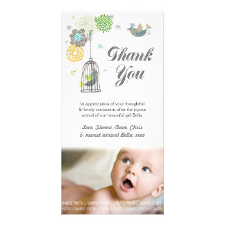 Bird Cage Thank You Note Baby Photo Card Template