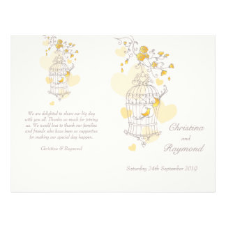 Bird cage yellow grey large Wedding Programme 21.5 Cm X 28 Cm Flyer