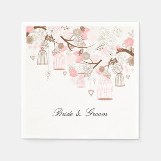 Bird Cages and Flowers Disposable Napkins