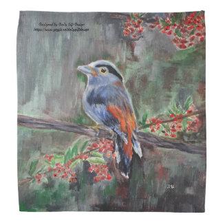 Bird close-up on edible wild berries tree acrylic bandana