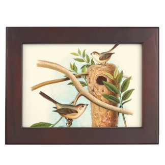 Bird Couple on a Nest Perched on a Branch Keepsake Box