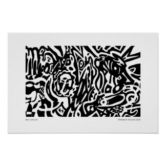 """Bird Creature"" B&W Abstract Poster"