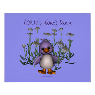 Bird Daisies Kids Room Personalized Wall Poster