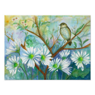 Bird Daisy Garden Nature Watercolor Painting Poster