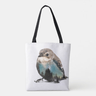 Bird Double Exposure Tote Bag