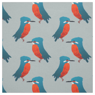 Bird Fabric: Teal Blue & Scarlet Kingfishers Fabric