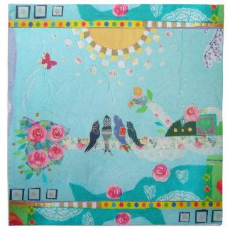 Bird Family Art Collage Printed Napkins