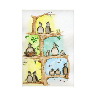 Bird Family / Spring, Summer, Autumn & Winter Canvas Print