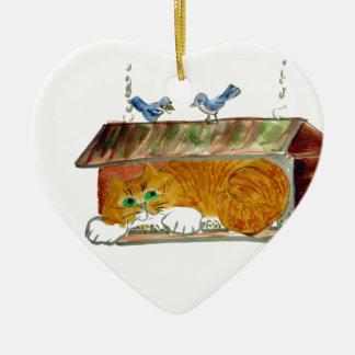 Bird Feeder and Orange Tiger Cat Christmas Ornament