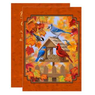 Bird Feeder Gathering Autumn Orange Card