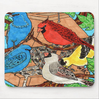 Bird Feeder Gathering Mousepad