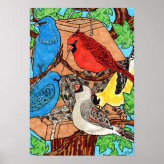 Bird Feeder Gathering Poster