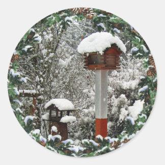 BIRD FEEDERS SNOW by SHARON SHARPE Round Sticker