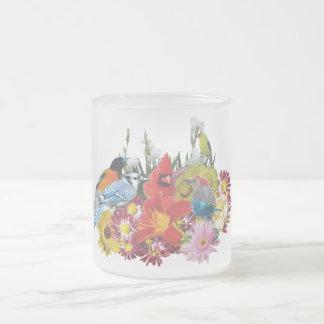 bird / flower medley 4 frosted glass coffee mug